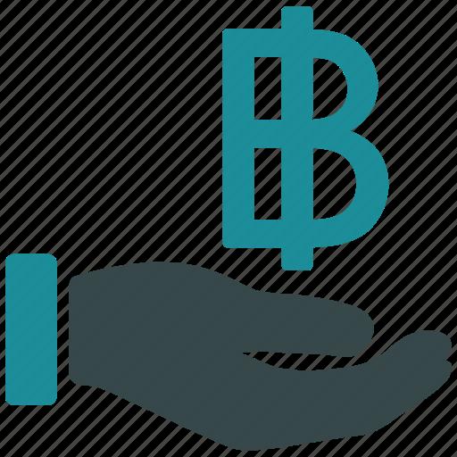 bank, bitcoin, finance, money, payment, salary, thai baht icon