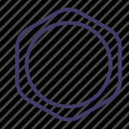 account, badge, hexagon, label, logo, shape, sticker icon