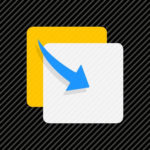 clone, copy, move to front, paste icon