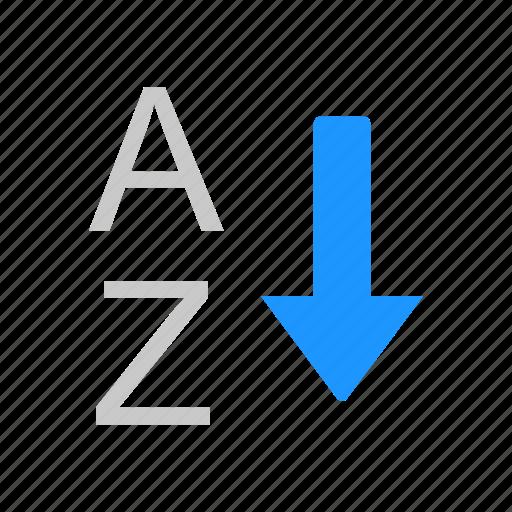 alphabet, arrow down, ascending, letter icon