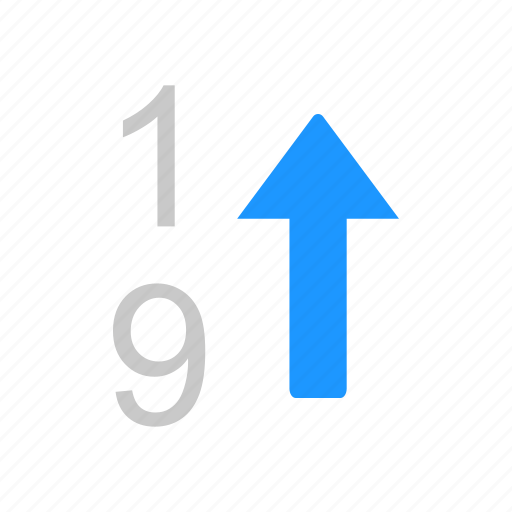 arrow up, ascending, nine, number, one icon