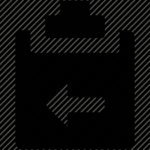 arrow, clipboard, list, memo, note icon