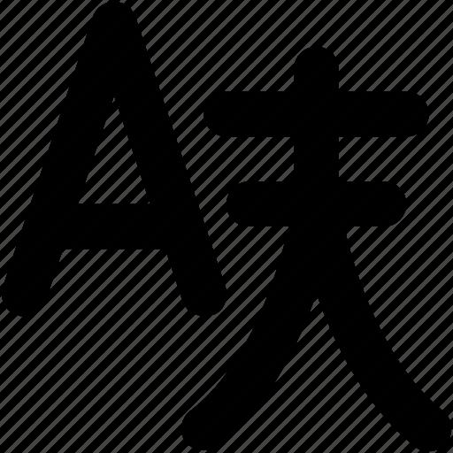 alphabet, chinese, chinese a, english, english alphabet icon