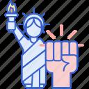 hand, liberty, right, statue icon