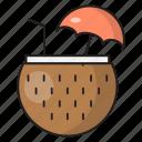 coconut, drink, fruit, juice, summer