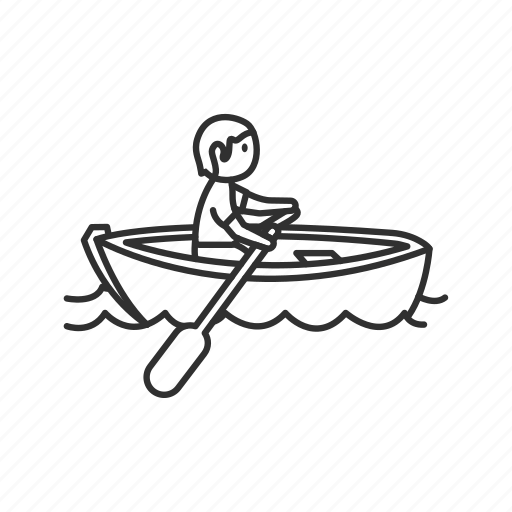 boat, emoji, row, rowing, rowing the boat, sea, water icon