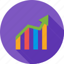 arrow, bar chart, chart, finance, graph, report, statistics icon