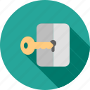 document, key, locked, login, open, protect, secure icon