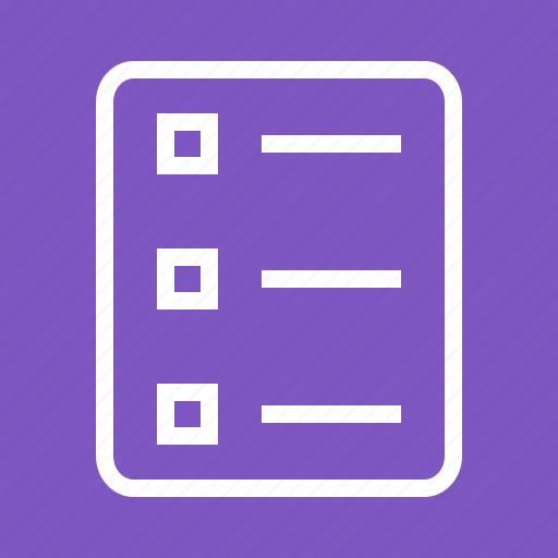 bulleted list, checklist, document, list, list view, numbered, tasks icon