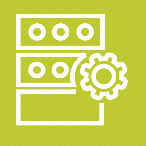 data, gear, information, manage, server, settings, storage icon
