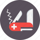 army, knife, safety, swiss, tool, tour, trave icon