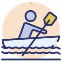 boat, canoeing, kayaking, outdoor gaming, rafting, rowboat, water sports icon