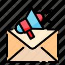 envelop, megaphone, advertise, speaker, loudspeaker, announcement, marketing icon