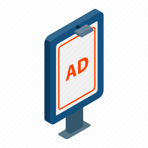 ad, advertisement, advertising, business, commercial, isometric, marketing icon