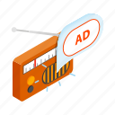 ad, advertising, isometric, music, radio, retro, sound icon
