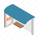 ad, advertisement, bus, business, isometric, marketing, stop icon