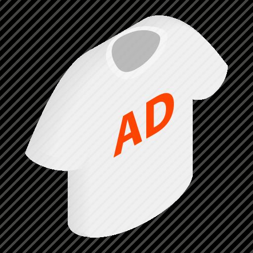 ad, blank, cloth, clothing, cotton, isometric, shirt icon