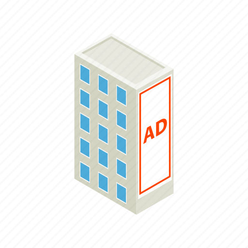 ad, advertisement, advertising, building, business, isometric, marketing icon