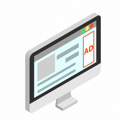 ad, computer, device, isometric, pc, screen, technology icon