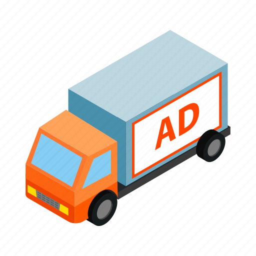 blank, cargo, freight, isometric, lorry, truck, vehicle icon
