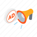 ad, advertising, business, isometric, megaphone, message, speaker icon