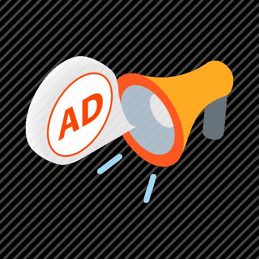 ad, advertising, business, isometric, megaphone, message, speaker icon