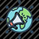 advertisement, earth, global, global advertisement, megaphone, reclame, world