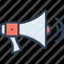 bullhorn, megaphone, megaphone with sound waves, sound, speaker, volume, waves