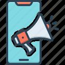 ad, advertisement, device, megaphone, smartphone, sound, technology