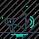 bullhorn, louder, megaphone, megaphone with sound waves, noise, speaker, volume icon