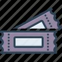 coupon, pass, seat, sticker, talon, ticket, voucher