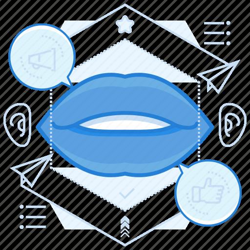 advertising, speech, spread, word icon