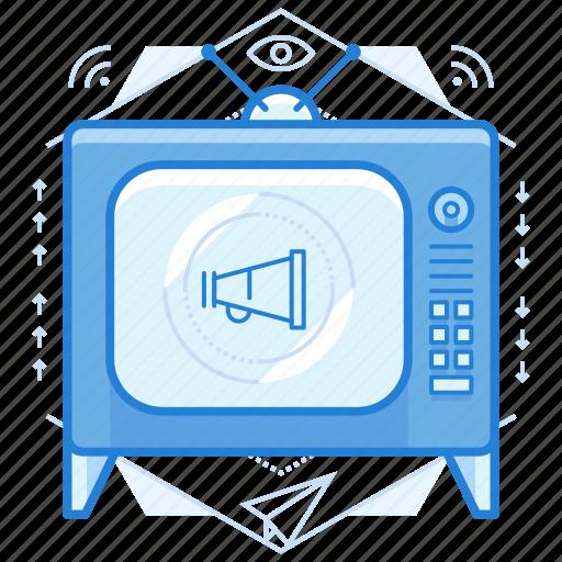add, marketing, television, tv icon
