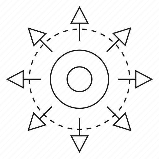 arrow, center, disposal, distribution, spread icon