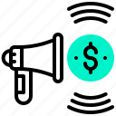 advertising, coin, currency, dollar, megaphone, money icon
