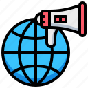 advertising, earth, global, megaphone, world icon