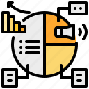 graph, megaphone, pie, statistic, strategy icon