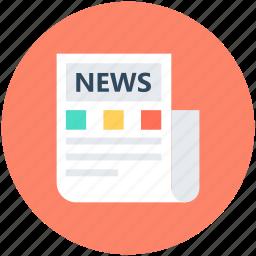 folded newspaper, media, news, news article, newspaper icon