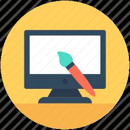 monitor, paintbrush, web building, web editor, website editing icon