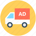 advertising, advertising van, marketing, mobile billboard, van icon