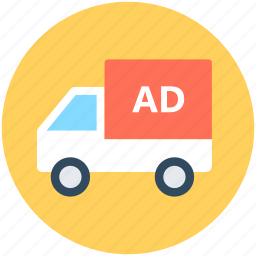 advertising, advertising van, marketing, mobile billboard, van icon