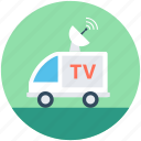 news van, ob truck, ob van, outside broadcasting, satellite truck icon