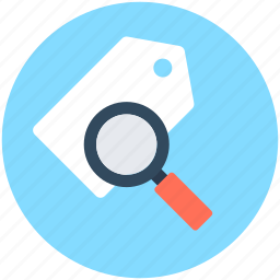 label, magnifying glass, search tag, seo tag, tag icon