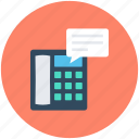 landline, message, speech bubble, telephone message icon