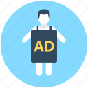 ad, advertising, marketing, marketing agent, personal marketing icon