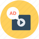ad, media, multimedia, video ads, video advertising icon