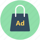 bag, bagvertising, purse, shopping ad, shopping bag icon