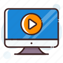 media player, monitor, multimedia, online video, video player icon