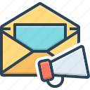 e, email, loudspeaker, mail, marketing, megaphone, promotion
