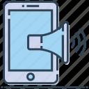 advertising, marketing, megaphone, mobile, phone, publicity icon